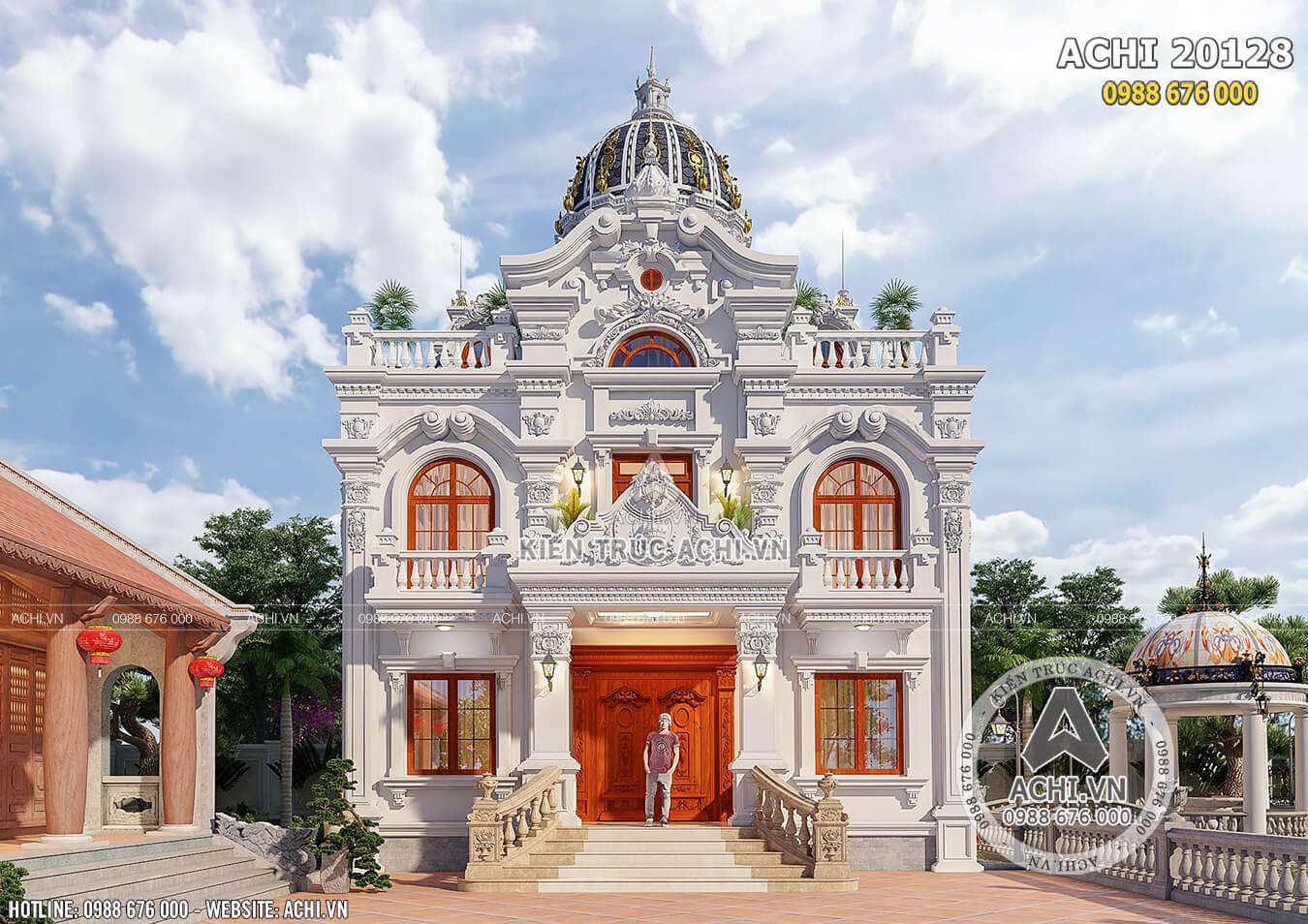Không gian 3d mặt tiền mẫu biệt thự 2 tầng tân cổ điển tại Ninh Bình - Mã số: ACHI 20128