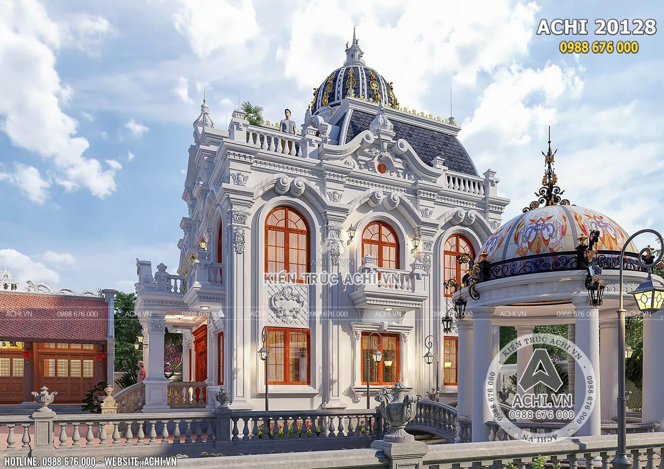 Không gian ngoại thất đẹp hút hồn mẫu dinh thự lâu đài đẹp kiến trúc tân cổ điển Pháp huyền thoại