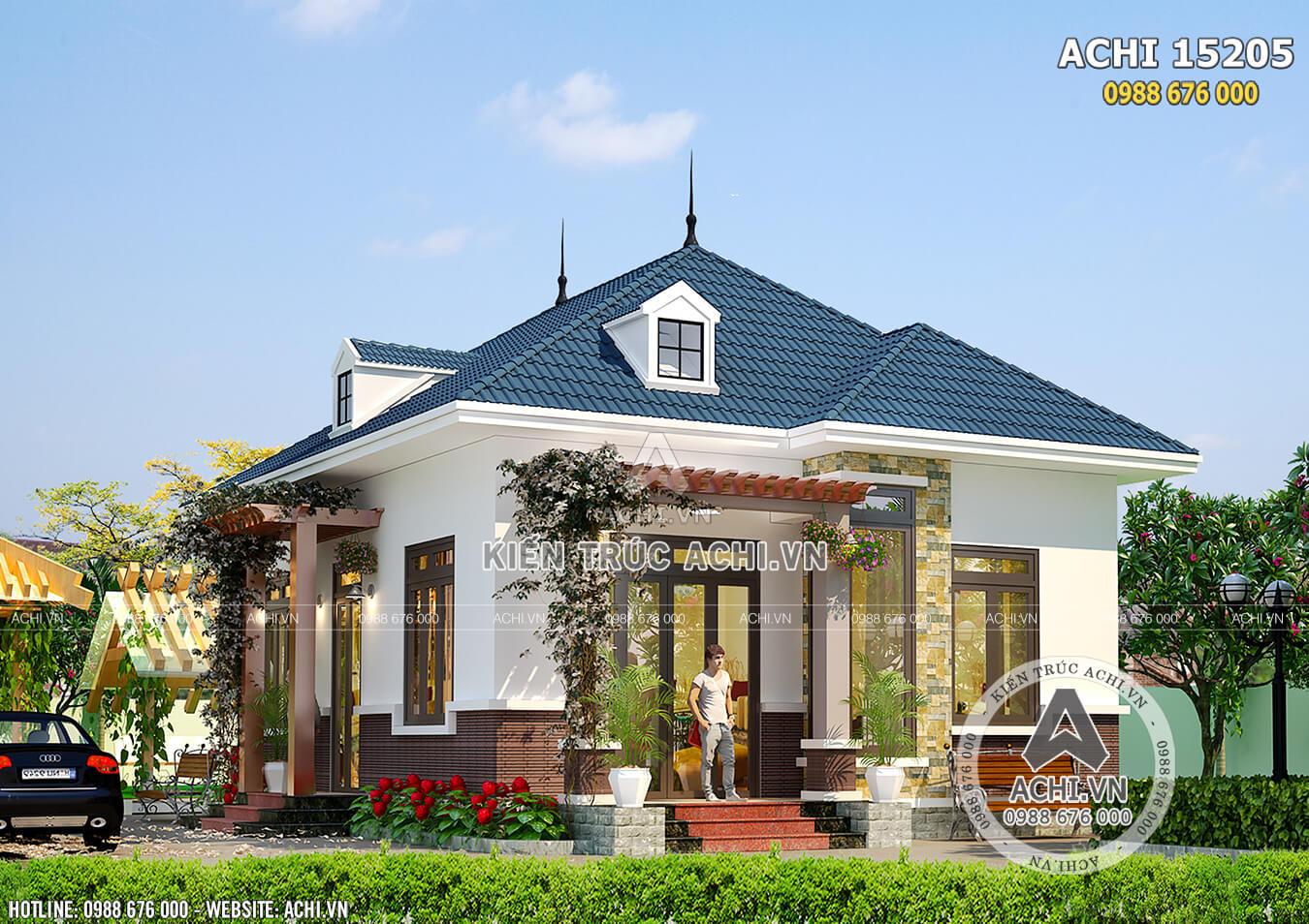 Mẫu nhà 1 tầng cấp 4 mái thái đơn giản 700 triệu đẹp sang trọng - ACHI 15205