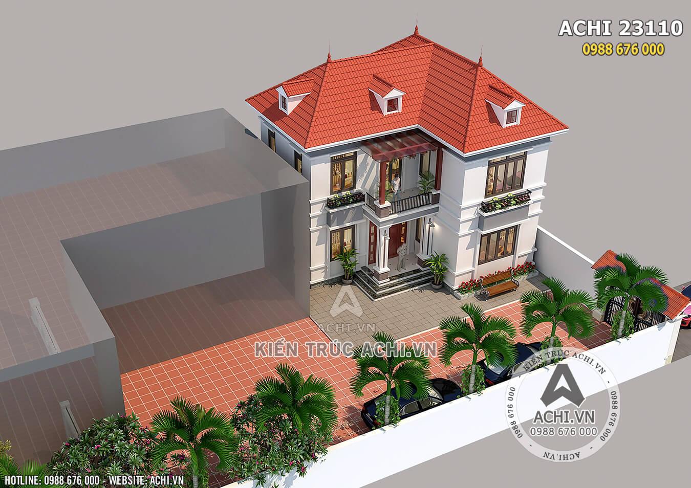 Mẫu nhà 2 tầng đơn giản nhìn từ trên cao
