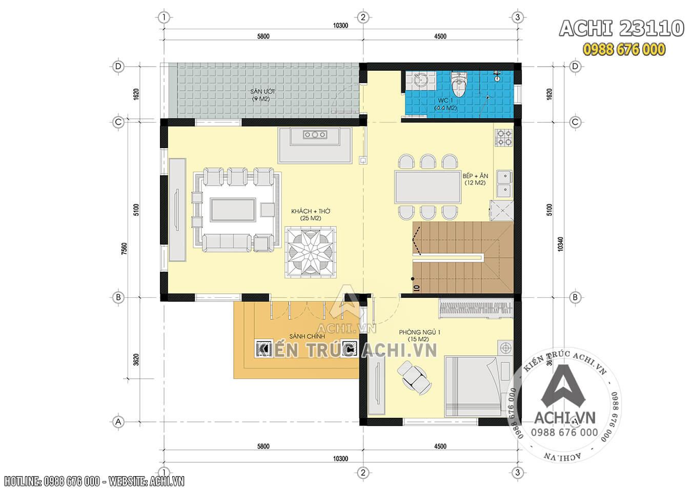 Mặt bằng tầng 1 mẫu nhà 2 tầng đơn giản 800 triệu