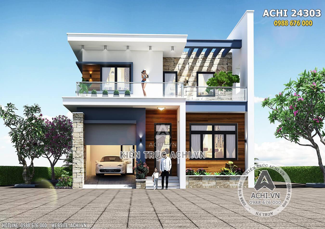Phối cảnh 3D mặt tiền mẫu nhà 2 tầng hiện đại đơn giản đẹp tiết kiệm chi phí