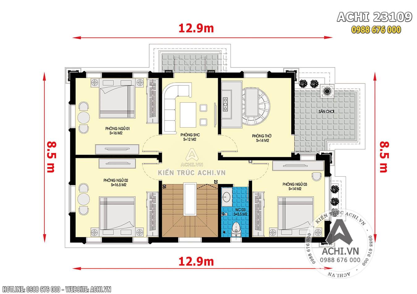 Mặt bằng tầng mẫu thiết kế nhà 2 tầng tân cổ điển mặt tiền 8m 4 phòng ngủ