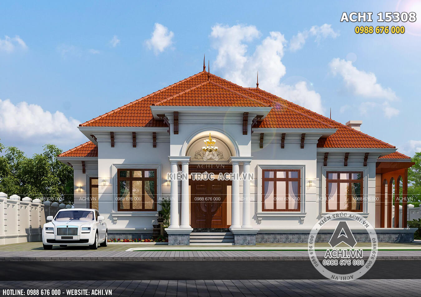 Không gian mẫu mặt tiền mẫu nhà biệt thự mái Thái cấp 4 đẹp 1 tầng - Mã số: ACHI 15308