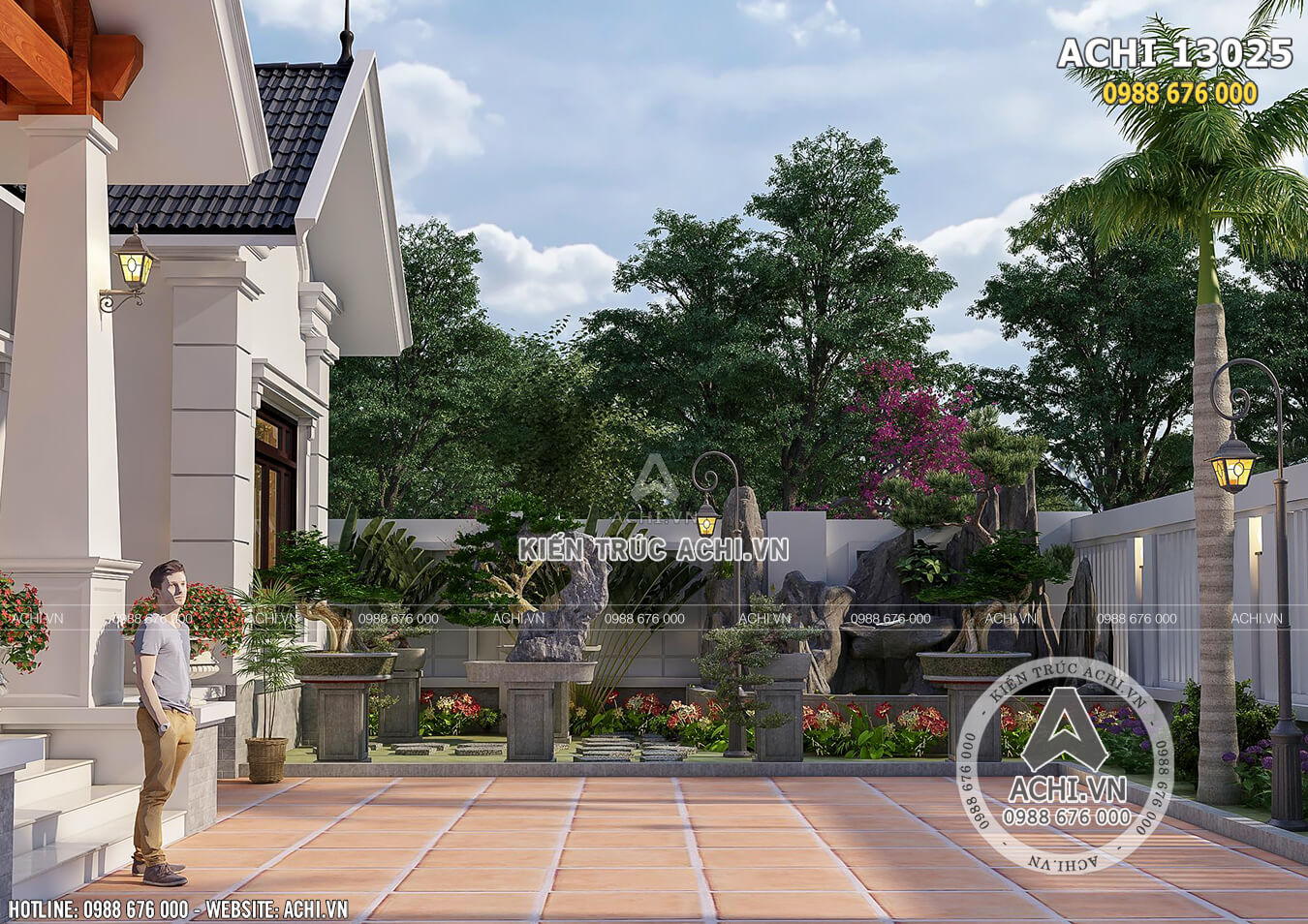 Một góc không gian sân vườn đẹp của mẫu thiết kế nhà vườn mái Thái nông thôn