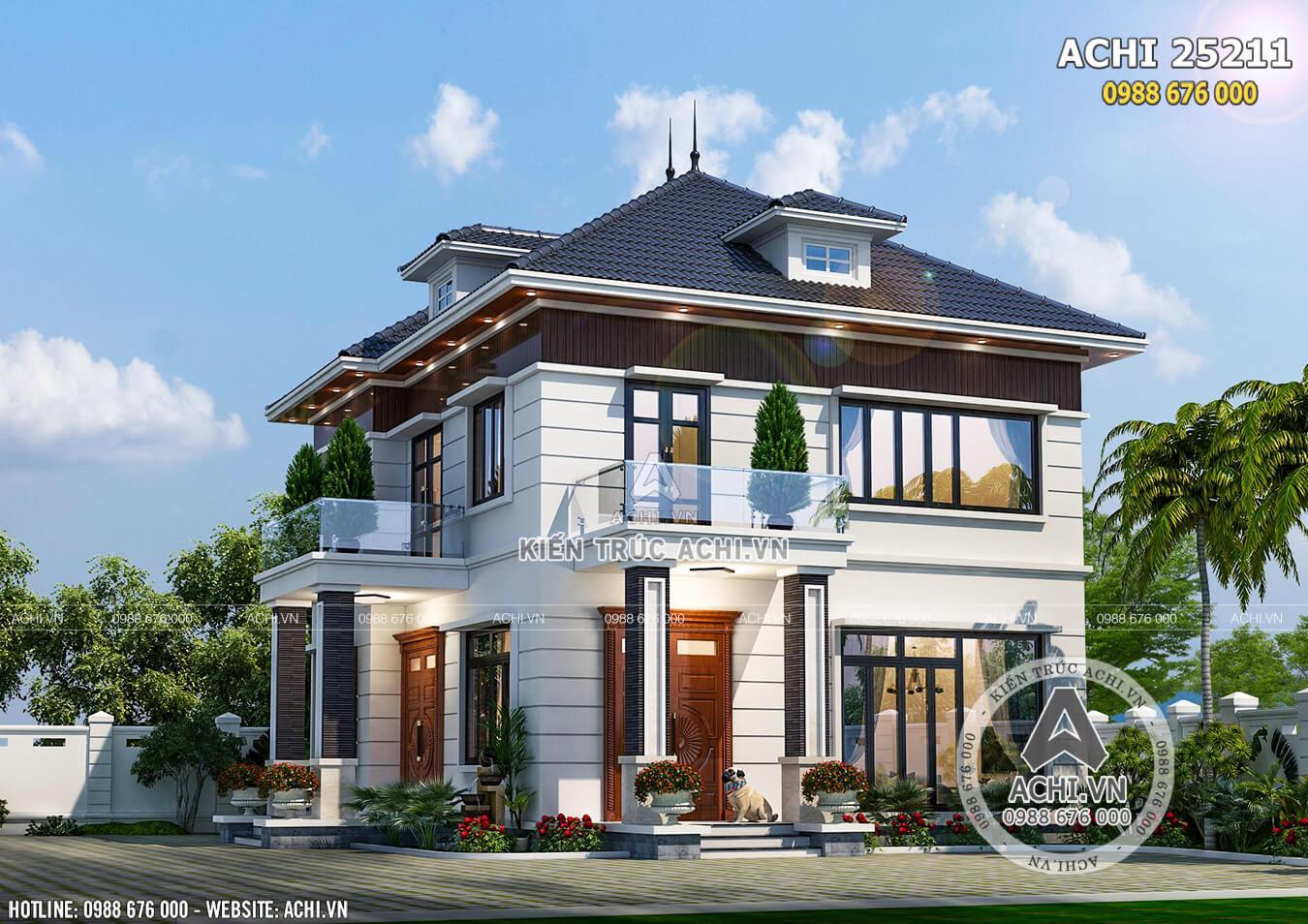 Mẫu nhà vuông 2 tầng đẹp 85m2 tại Hà Nội - ACHI 25211