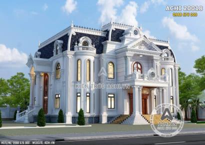 Mẫu thiết kế nhà vuông 2 tầng tân cổ điển đẹp - ACHI 20018