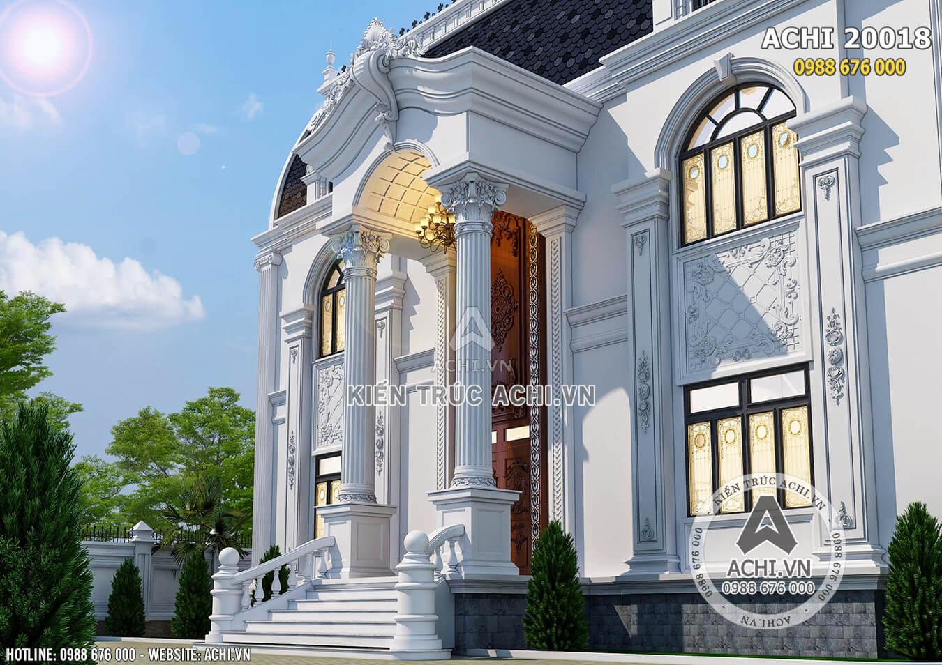 Chi tiết sảnh mẫu nhà 2 tầng đẹp sang trọng kiến trúc tân cổ điển