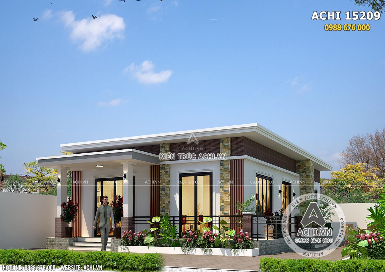 Mẫu nhà cấp 4 đơn giản 1 tầng đẹp 500 triệu tại Thanh Hóa - ACHI 15209