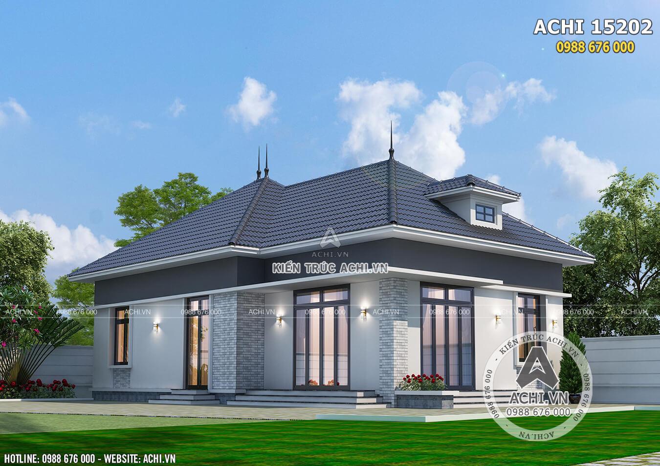 Không gian ngoại thất mẫu biệt thự 1 tầng mái Thái giá chỉ 650 triệu tại Bắc Ninh
