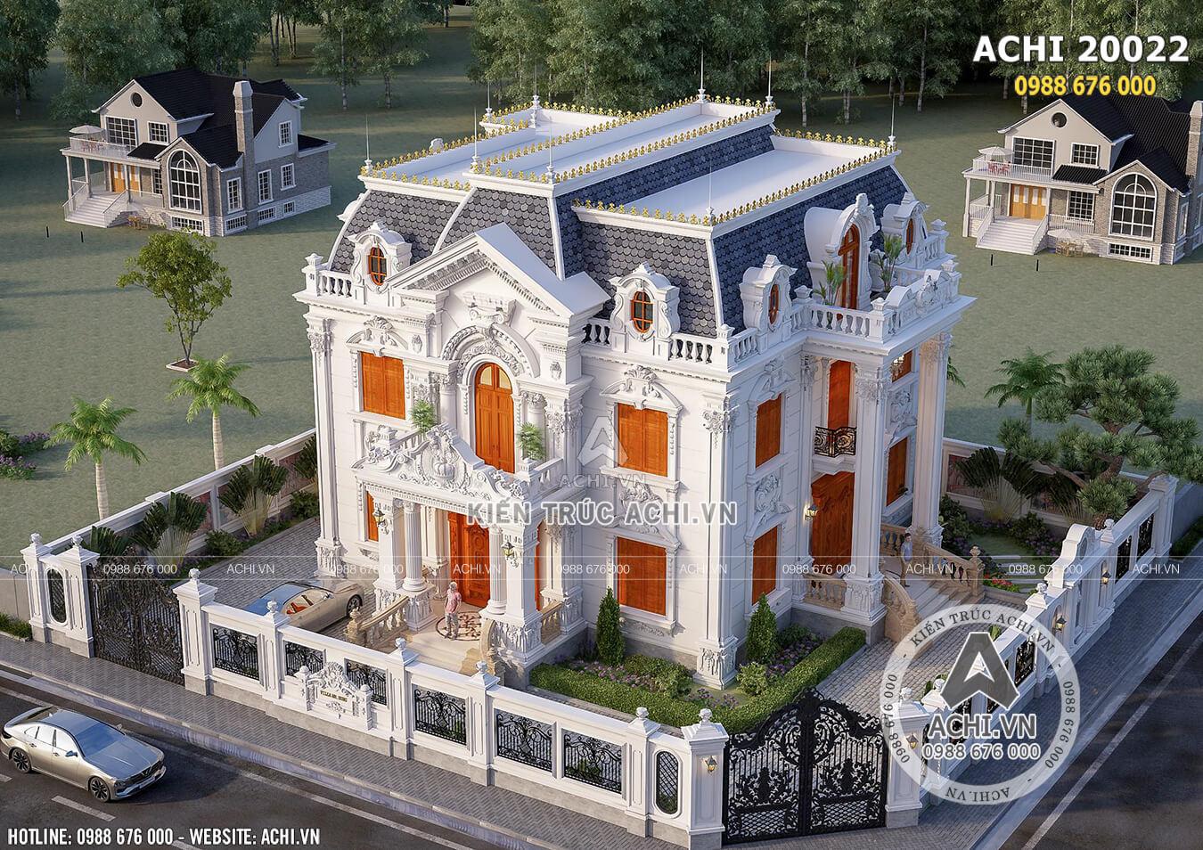 Thiết kế biệt thự tân cổ điển đẹp 2 tầng 1 tum nhìn từ trên cao