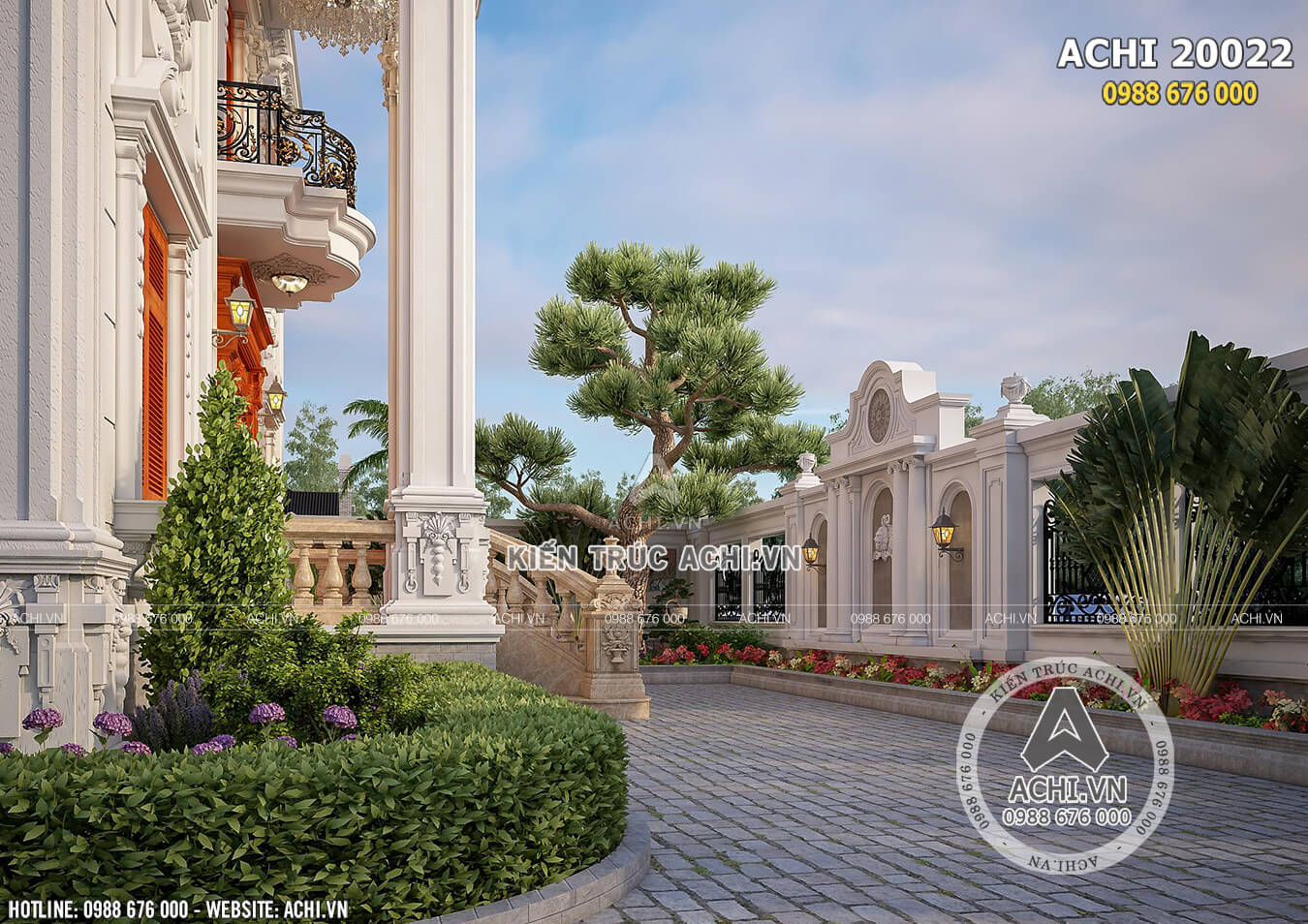 Một góc sân vườn của ngôi biệt thự 2 tầng 1 tum đẹp cuốn hút