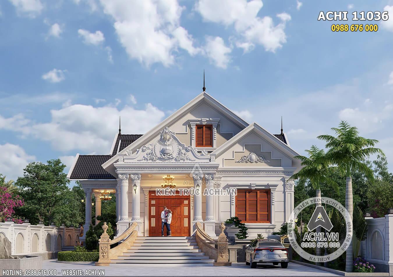 Phối cảnh 3D mặt tiền đẹp đến từng chi tiết nhỏ của mẫu biệt thự 1 tầng tân cổ điển