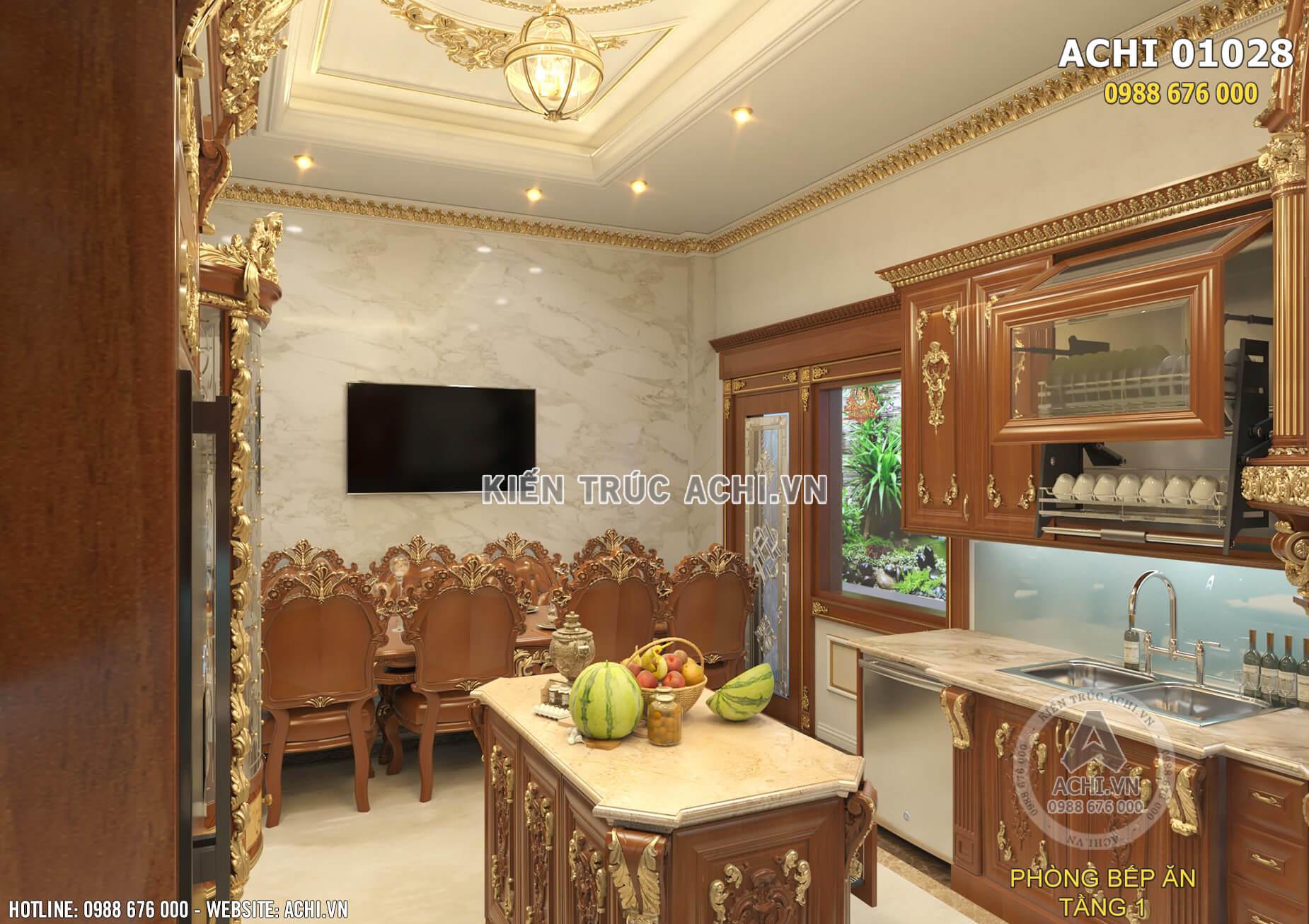 Một góc view của nội thất phòng bếp ăn mẫu biệt thự tân cổ