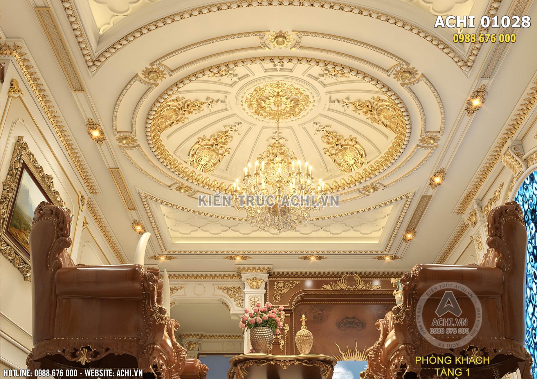 Trần thạch cao của không gian phòng khách được thiết kế tỉ mỉ và chi tiết