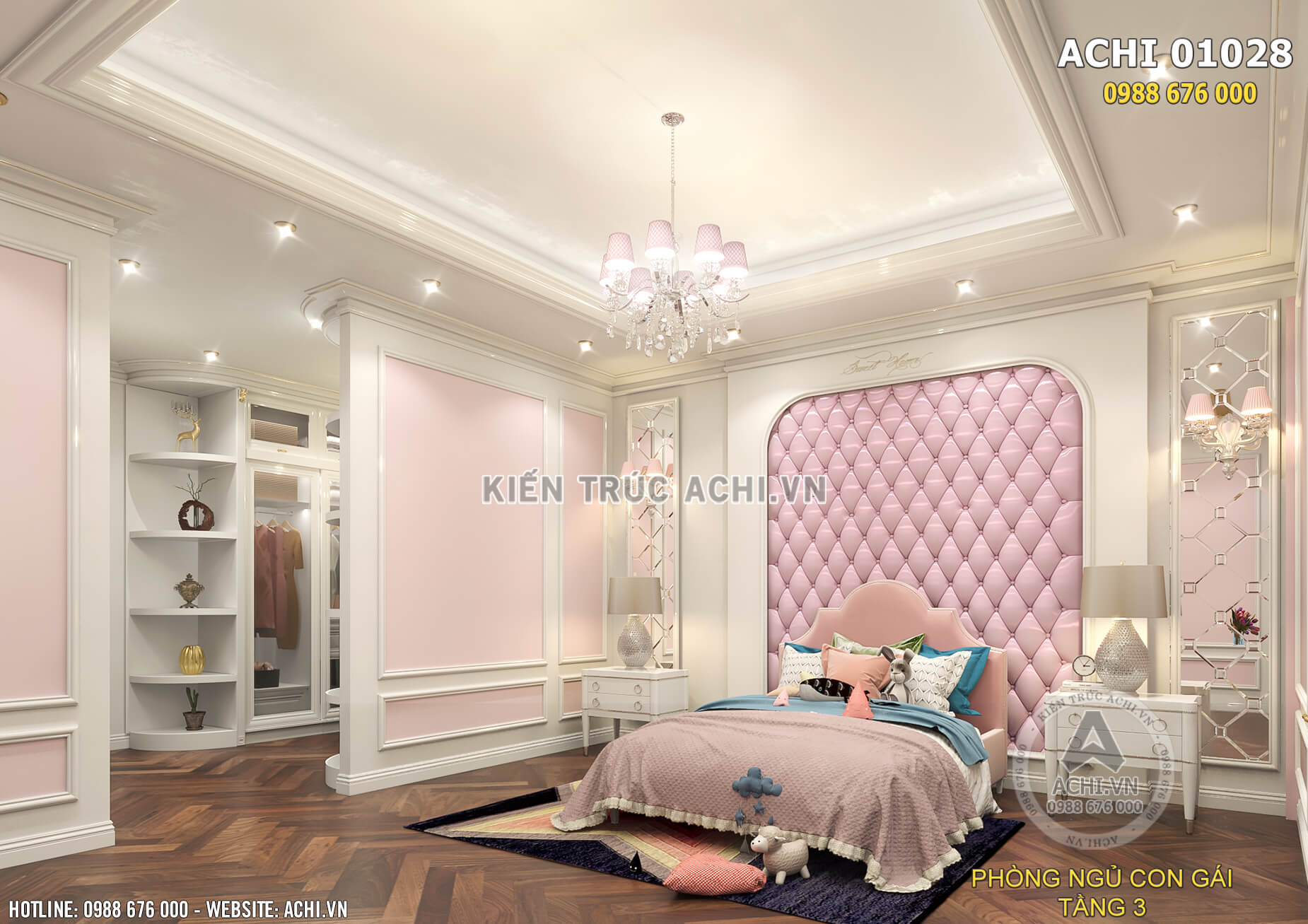 Mẫu thiết kế nội thất phòng ngủ cho con gái trong căn biệt thự tân cổ