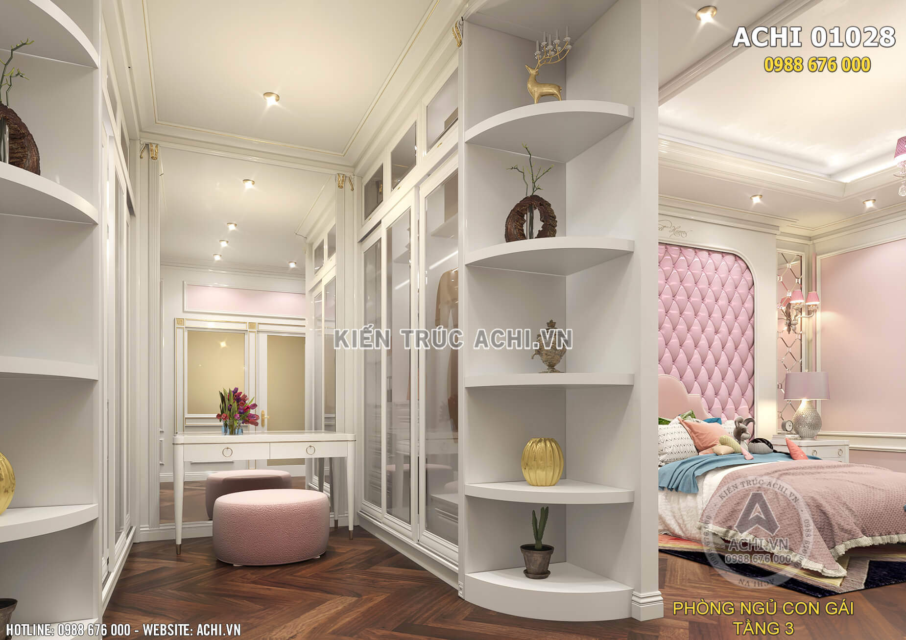 Không gian phòng ngủ cho con gái với gam màu hồng thơ mộng