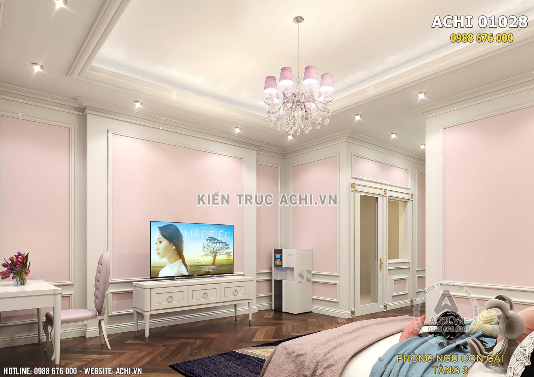 Một góc view của căn phòng ngủ cho con gái trong ngôi biệt thự tân cổ điển