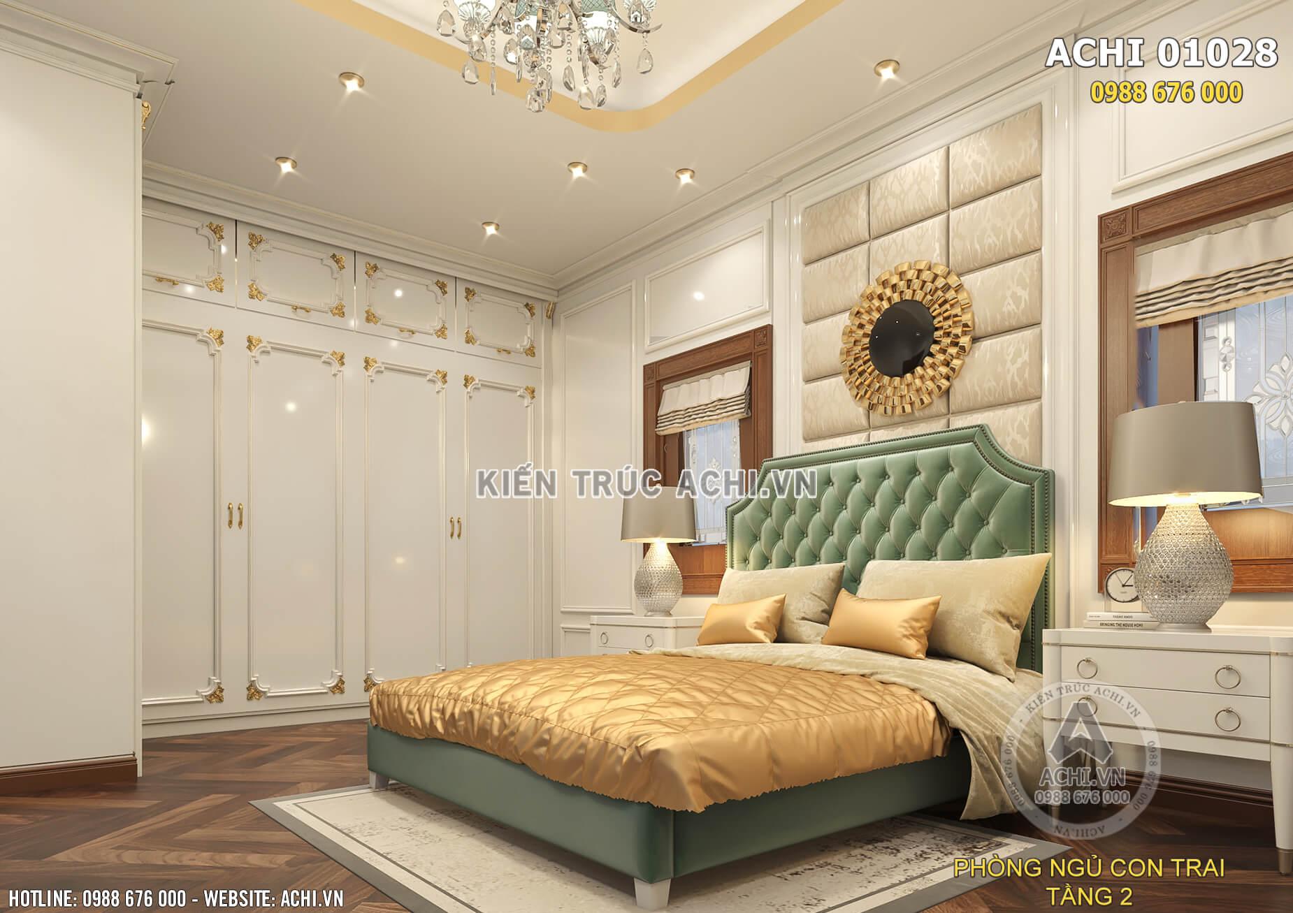 Không gian phòng ngủ cho con trai trong ngôi biệt thự tân cổ