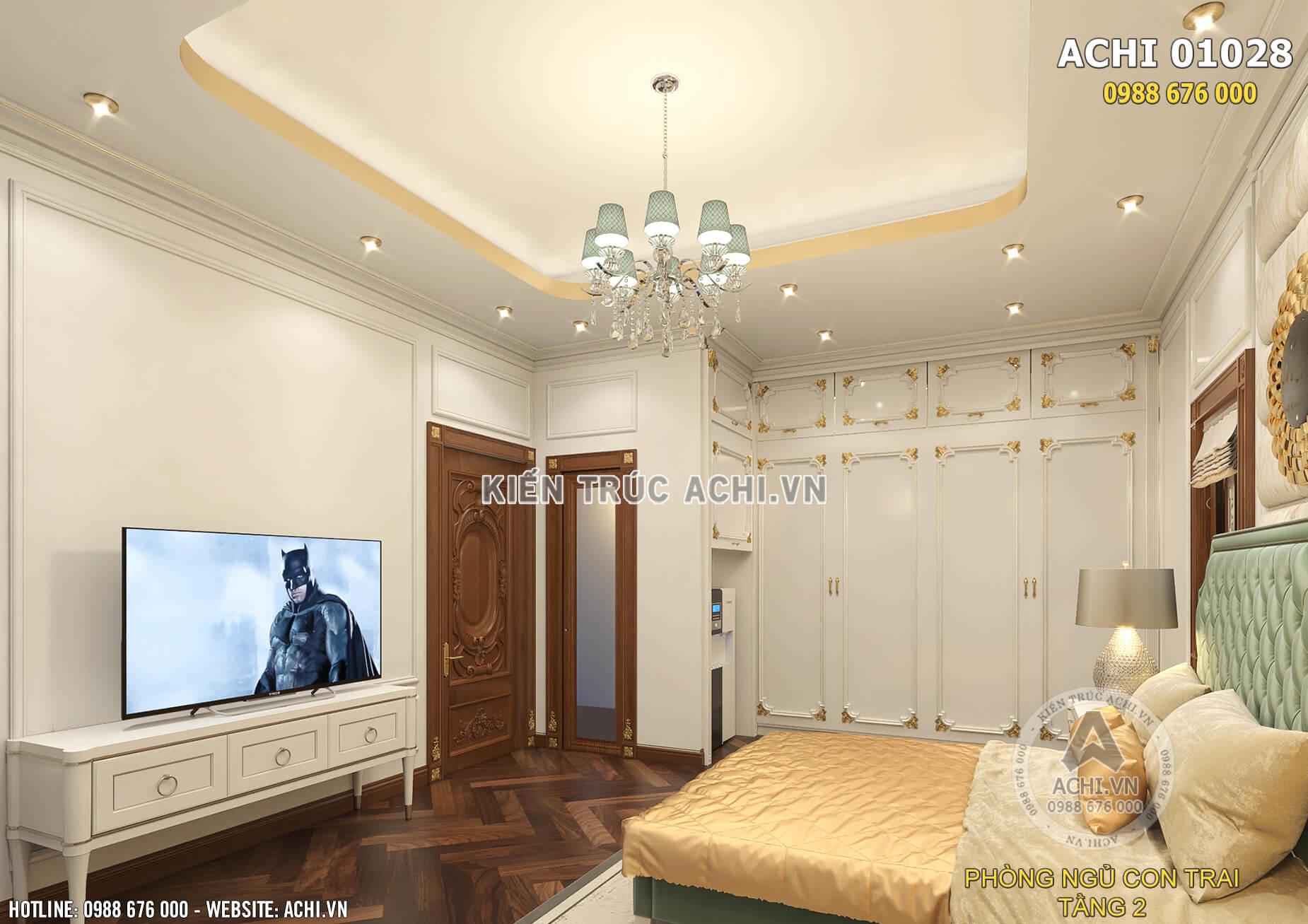 Mẫu thiết kế nội thất phòng ngủ cho con trai với màu xanh độc đáo