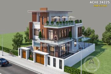 Mẫu thiết kế biệt thự 2,5 tầng mặt tiền 10m ốp gỗ đẹp – Mã số: ACHI 34225