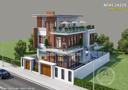 Toàn cảnh mẫu thiết kế biệt thự 2,5 tầng mặt tiền 10m ốp gỗ đẹp - Mã số: ACHI 34225