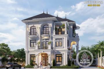 Mẫu thiết kế biệt thự 3 tầng tân cổ điển đẹp – Mã số: ACHI 33021