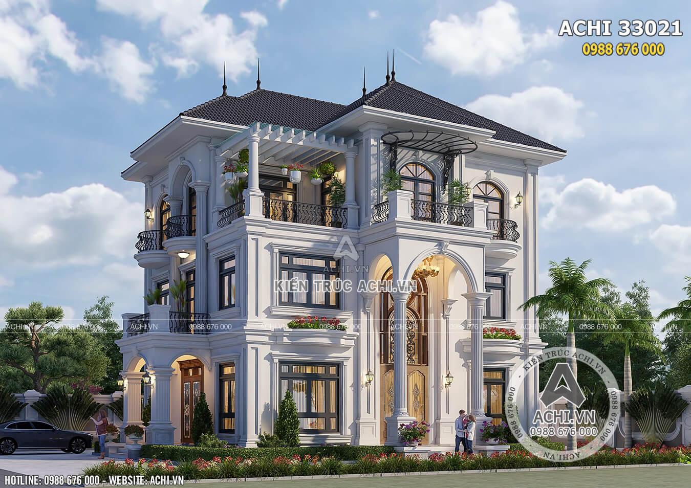 Phối cảnh 3D mặt tiền mẫu thiết kế biệt thự 3 tầng tân cổ điển đẹp