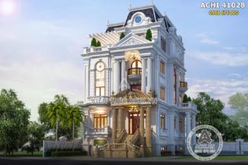 Mẫu thiết kế biệt thự tân cổ điển 4 tầng đẹp độc đáo – ACHI 41028