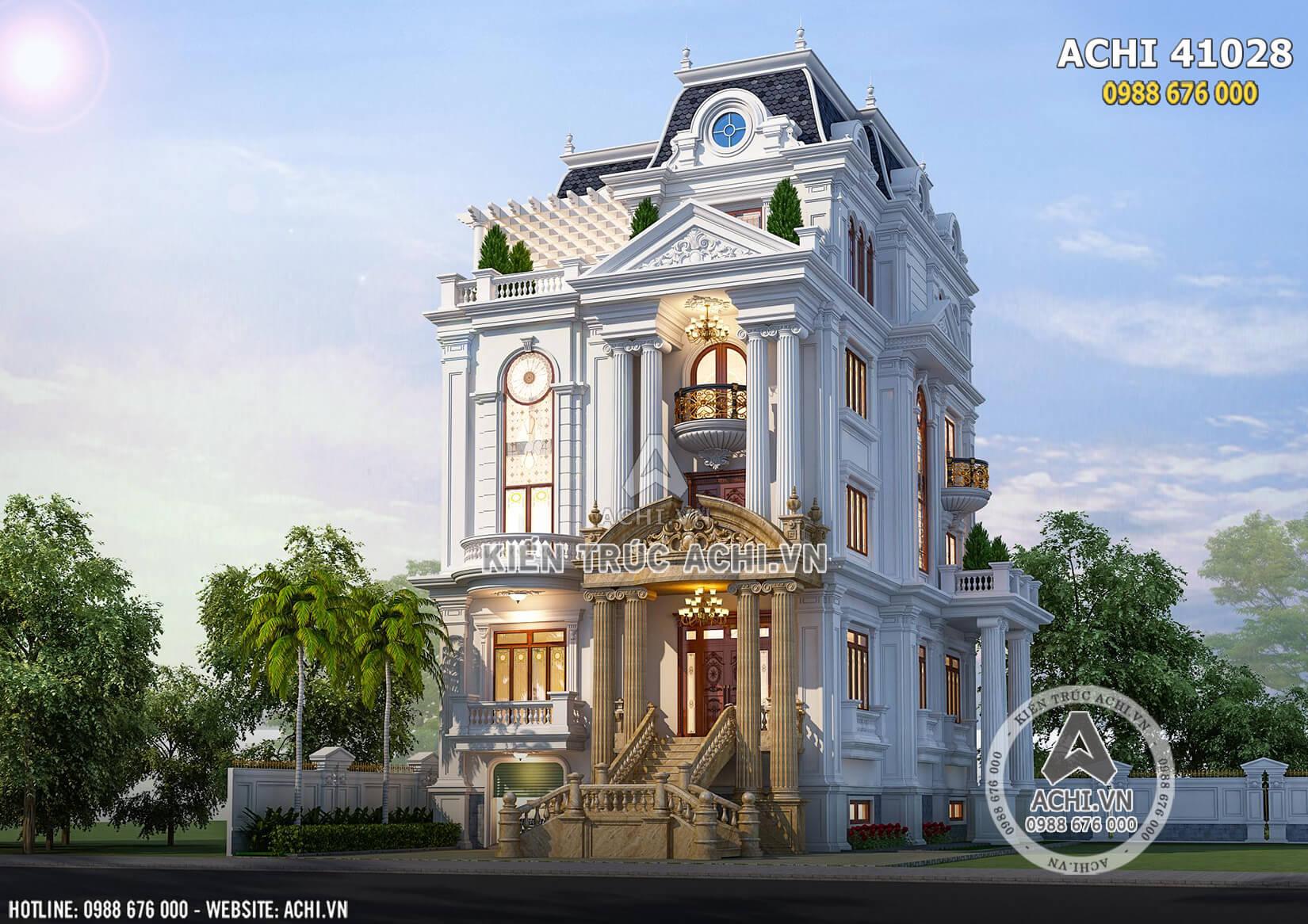 Mặt tiền ngôi nhà kiến trúc tân cổ điển 4 tầng đẹp sang trọng