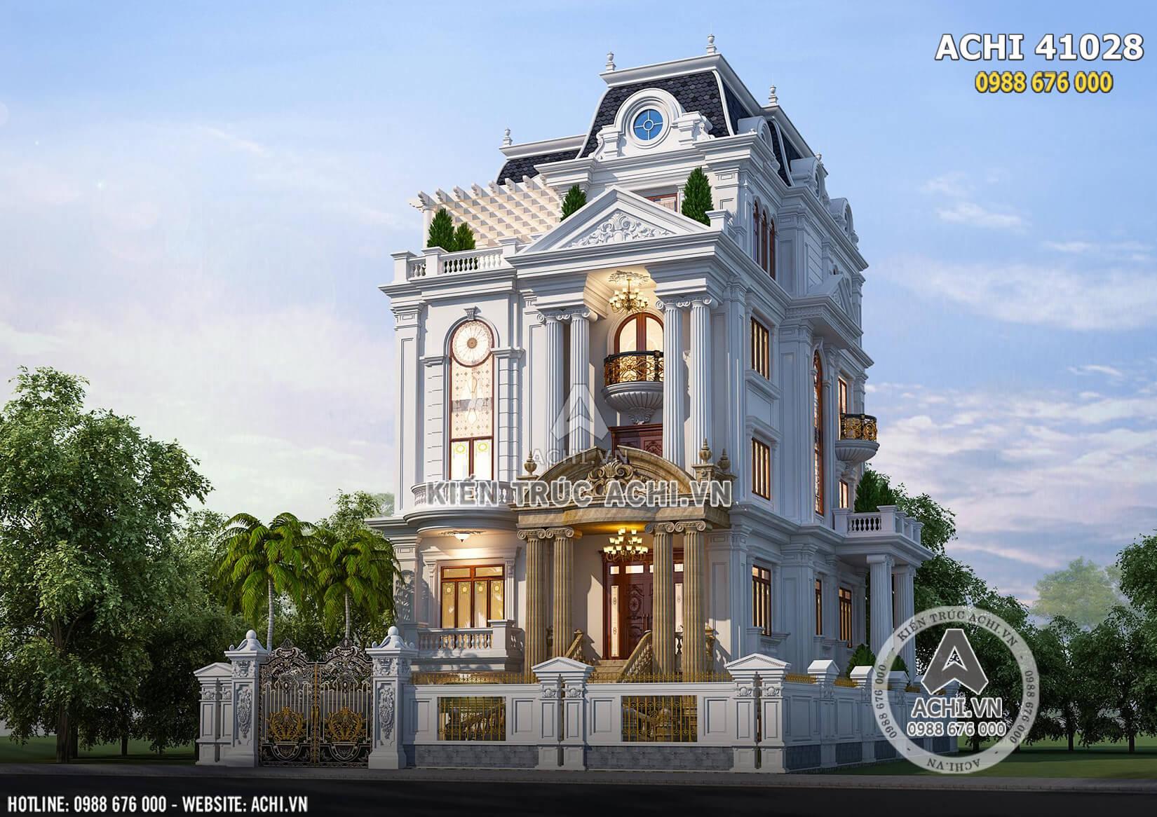 Mẫu thiết kế biệt thự tân cổ điển 4 tầng đẹp - ACHI 41028