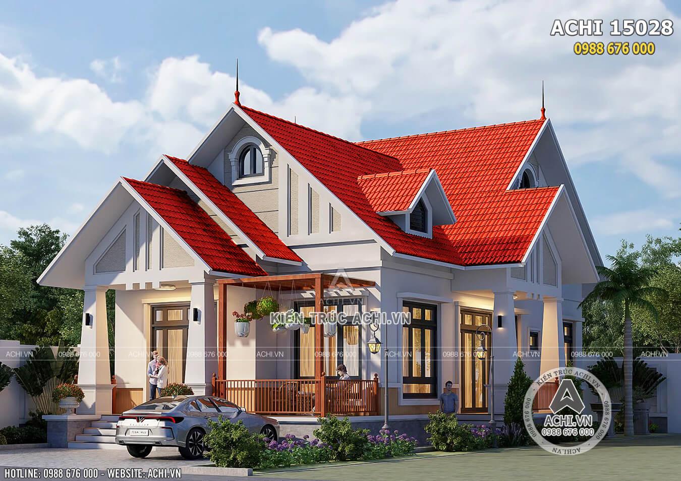Mẫu thiết kế nhà cấp 4 đẹp nông thôn 3 phòng ngủ 130m2 - ACHI 15028