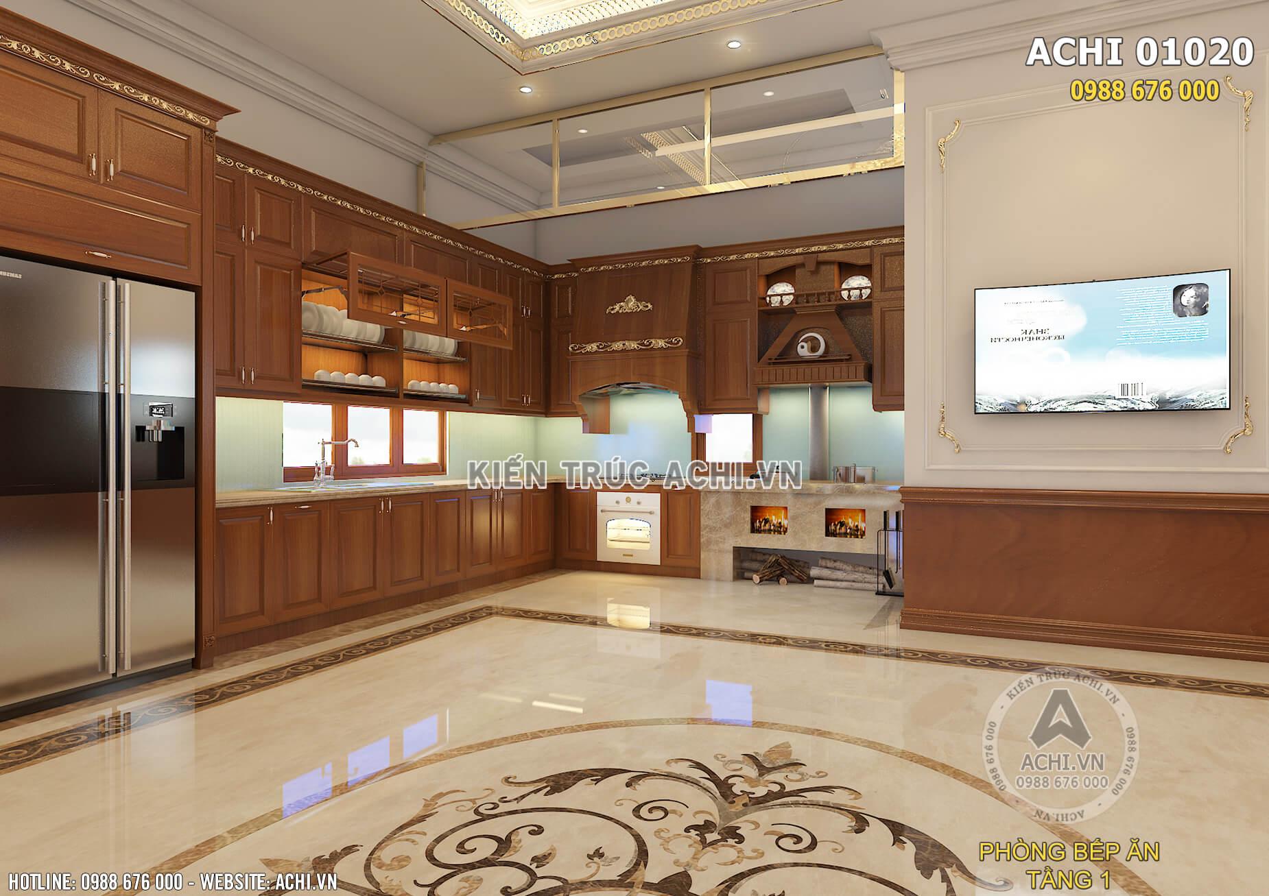 Không gian nội thất phòng bếp thoáng rộng và ấm áp