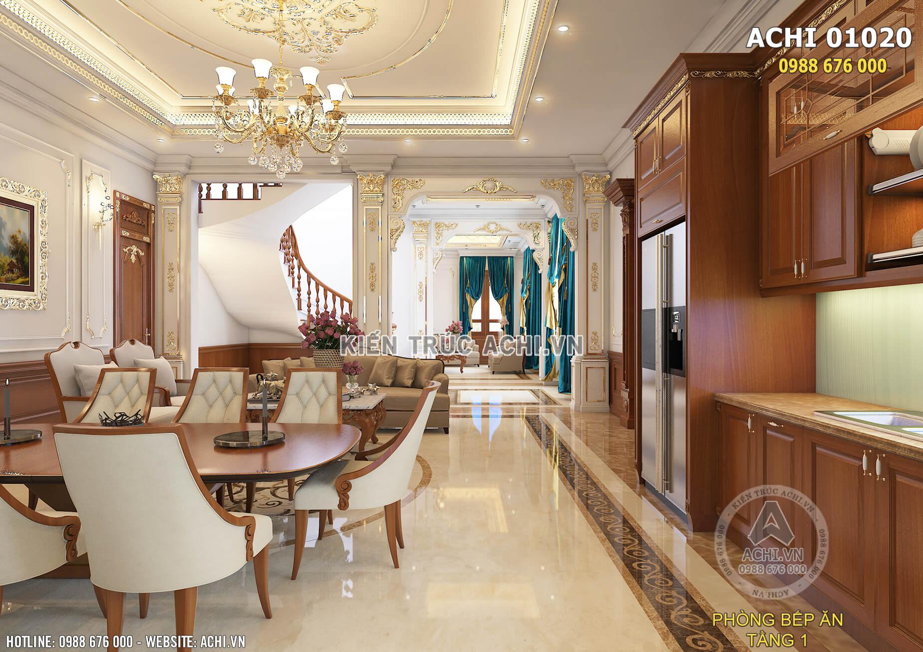 Mẫu thiết kế nội thất phòng bếp ăn của ngôi biệt thự tân cổ