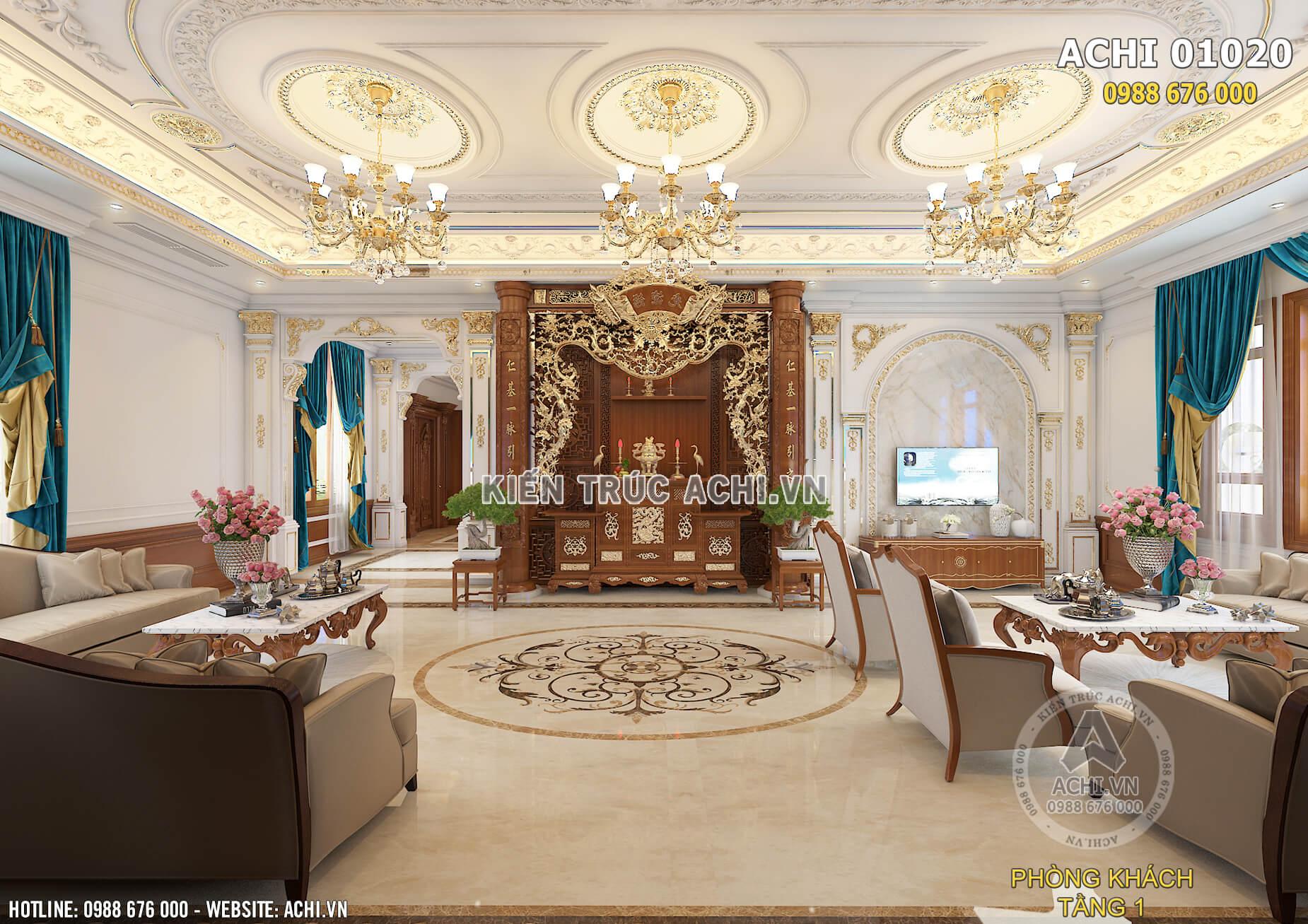 Mẫu thiết kế nội thất đẹp tân cổ điển sang trọng - ACHI 01020