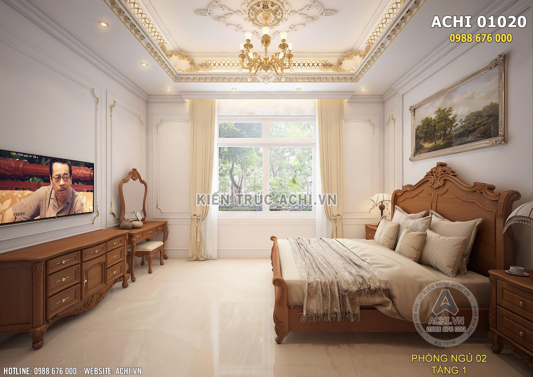 Tầm view đẹp của phòng ngủ ở tầng 1 ngôi biệt thự