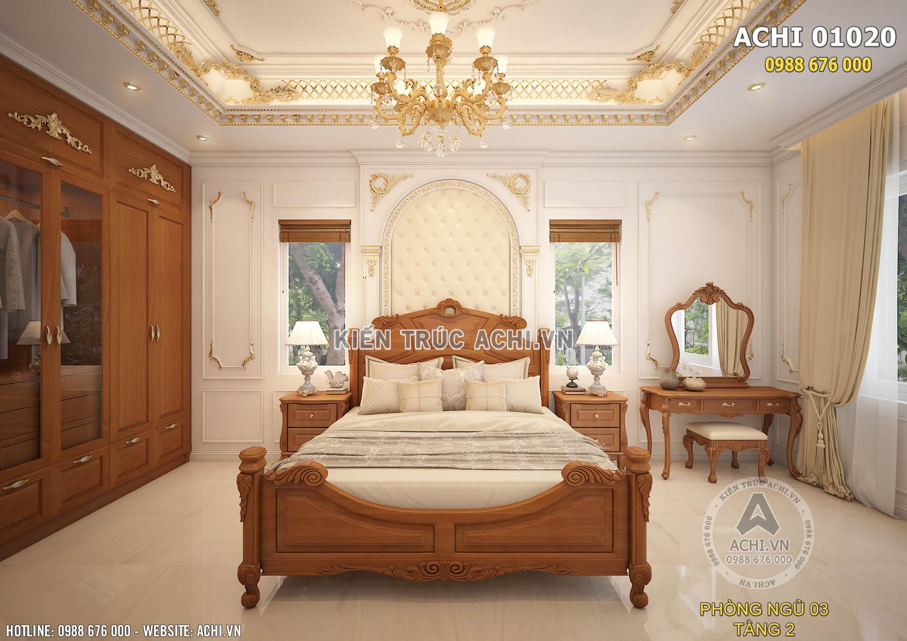 Màu sắc và vật liệu thiết kế của phòng ngủ được lựa chọn tinh tế