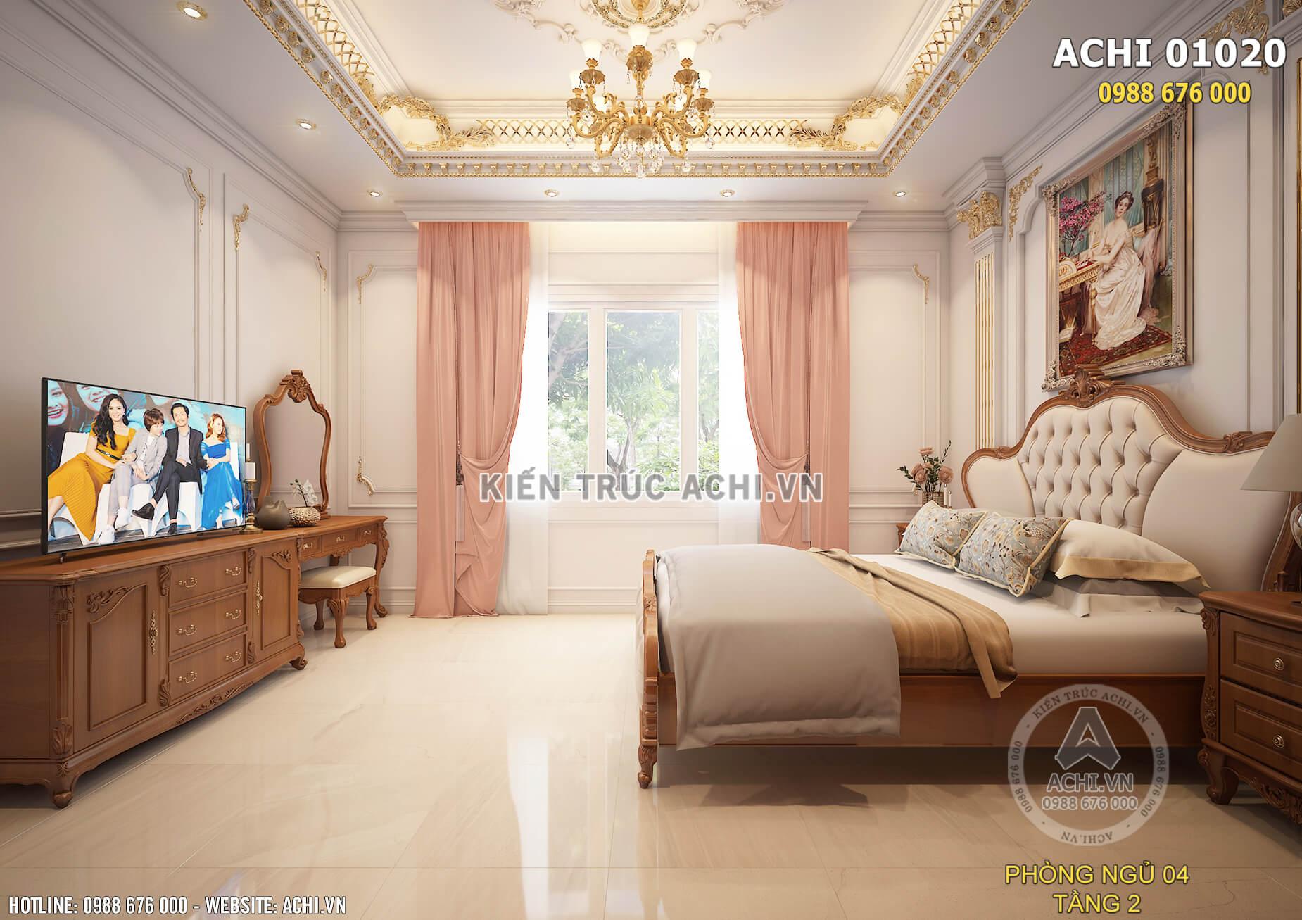 Hệ thống cửa kính khung gỗ sơn trắng tối ưu nguồn ánh sáng cho phòng ngủ