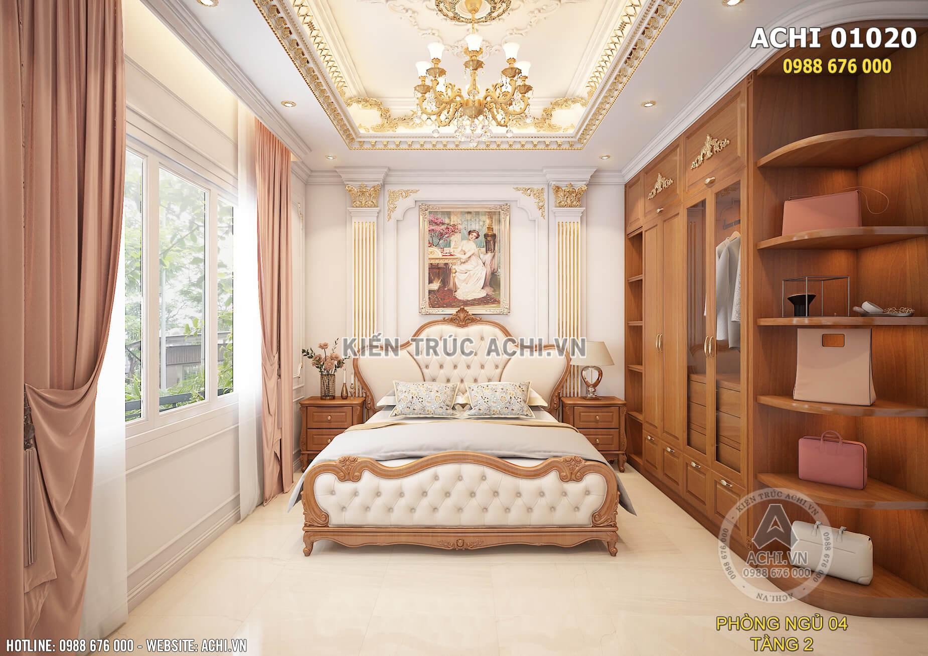 Mẫu thiết kế nội thất đẹp phòng ngủ 04 tại tầng 2 của ngôi biệt thự
