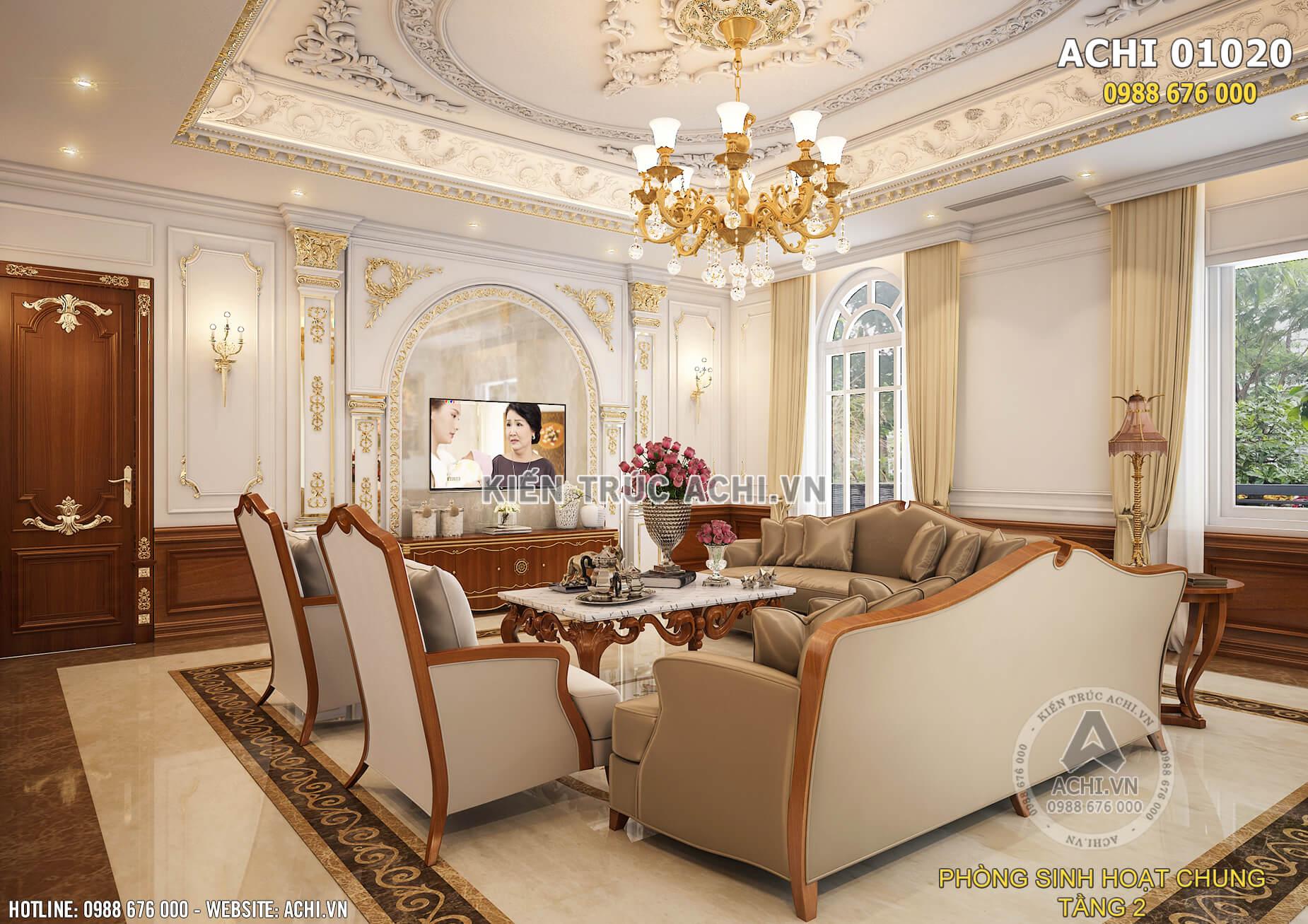 Tổng thể nội thất phòng sinh hoạt chung ấm áp và sang trọng