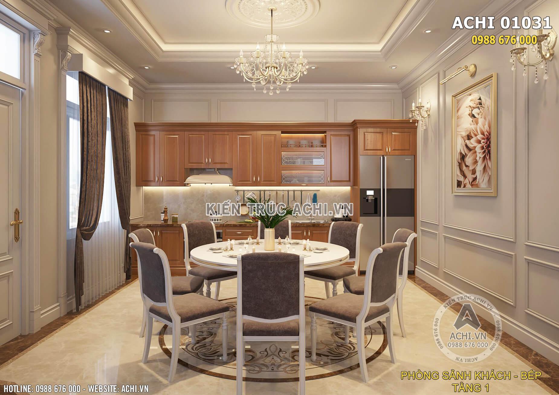 Mẫu thiết kế nội thất phòng bếp ăn tân cổ điển đẹp nhẹ nhàng