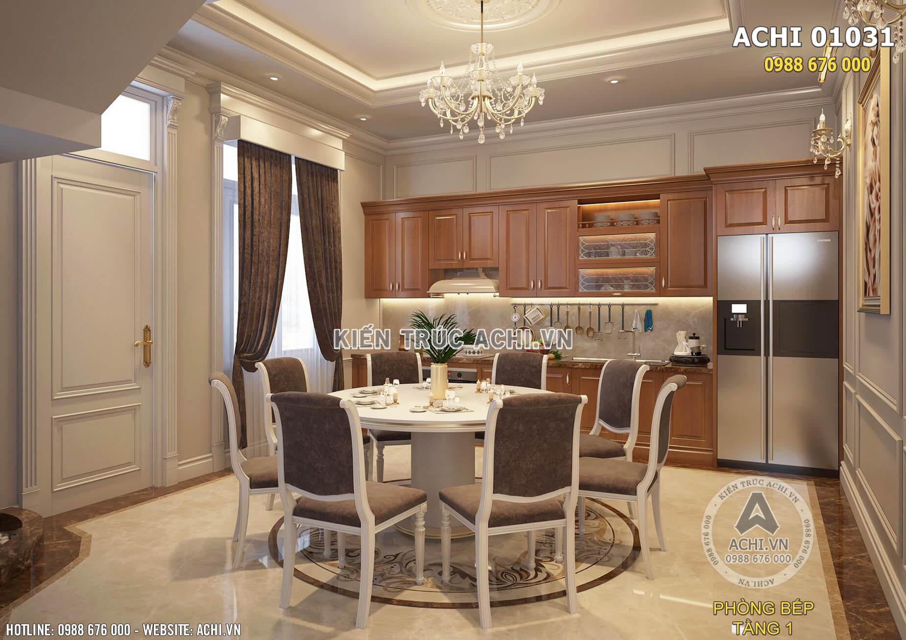 Không gian phòng bếp tân cổ điển sang trọng và tiện nghi