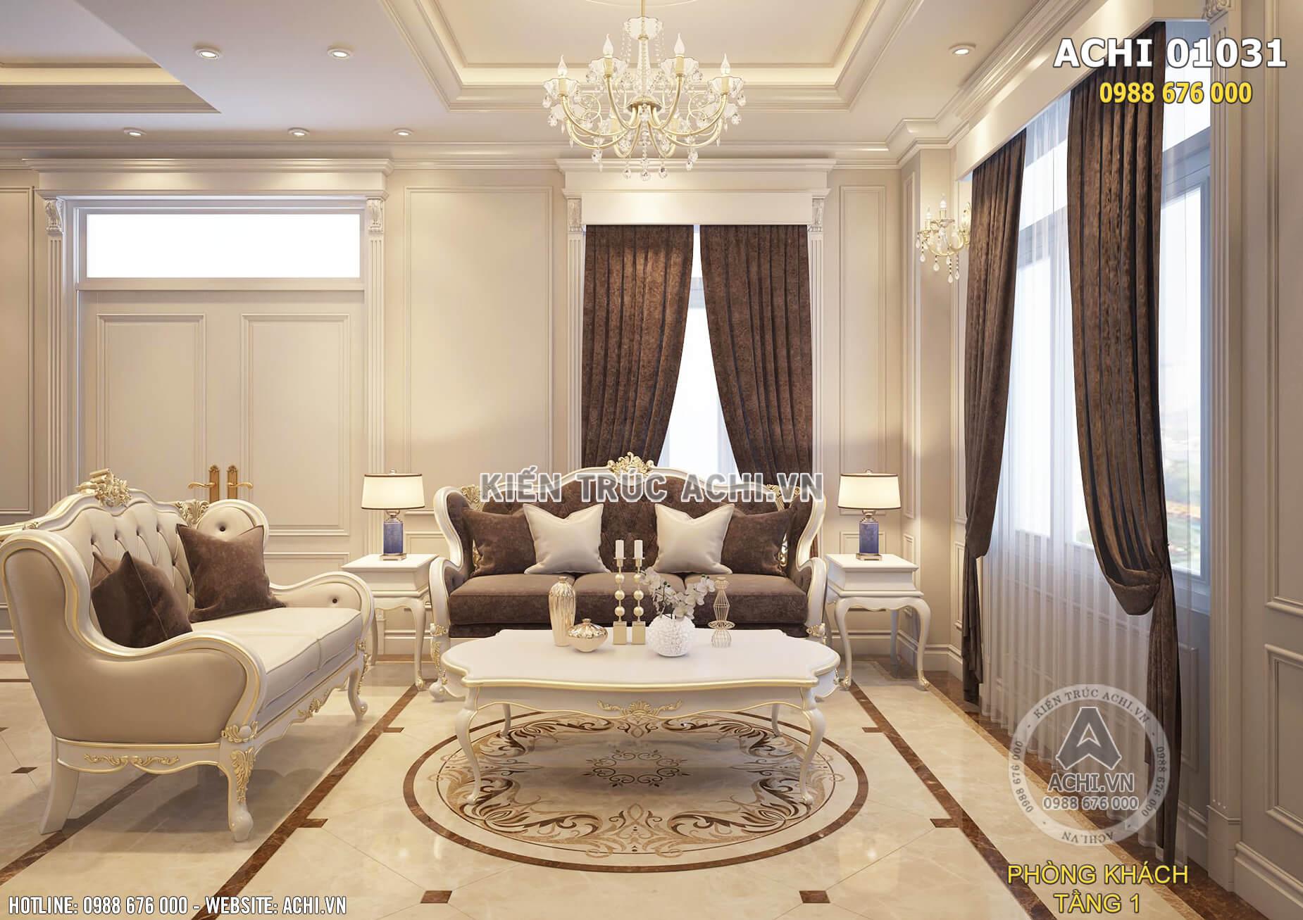 Mẫu thiết kế nội thất phòng khách tân cổ điển đẹp sang trọng