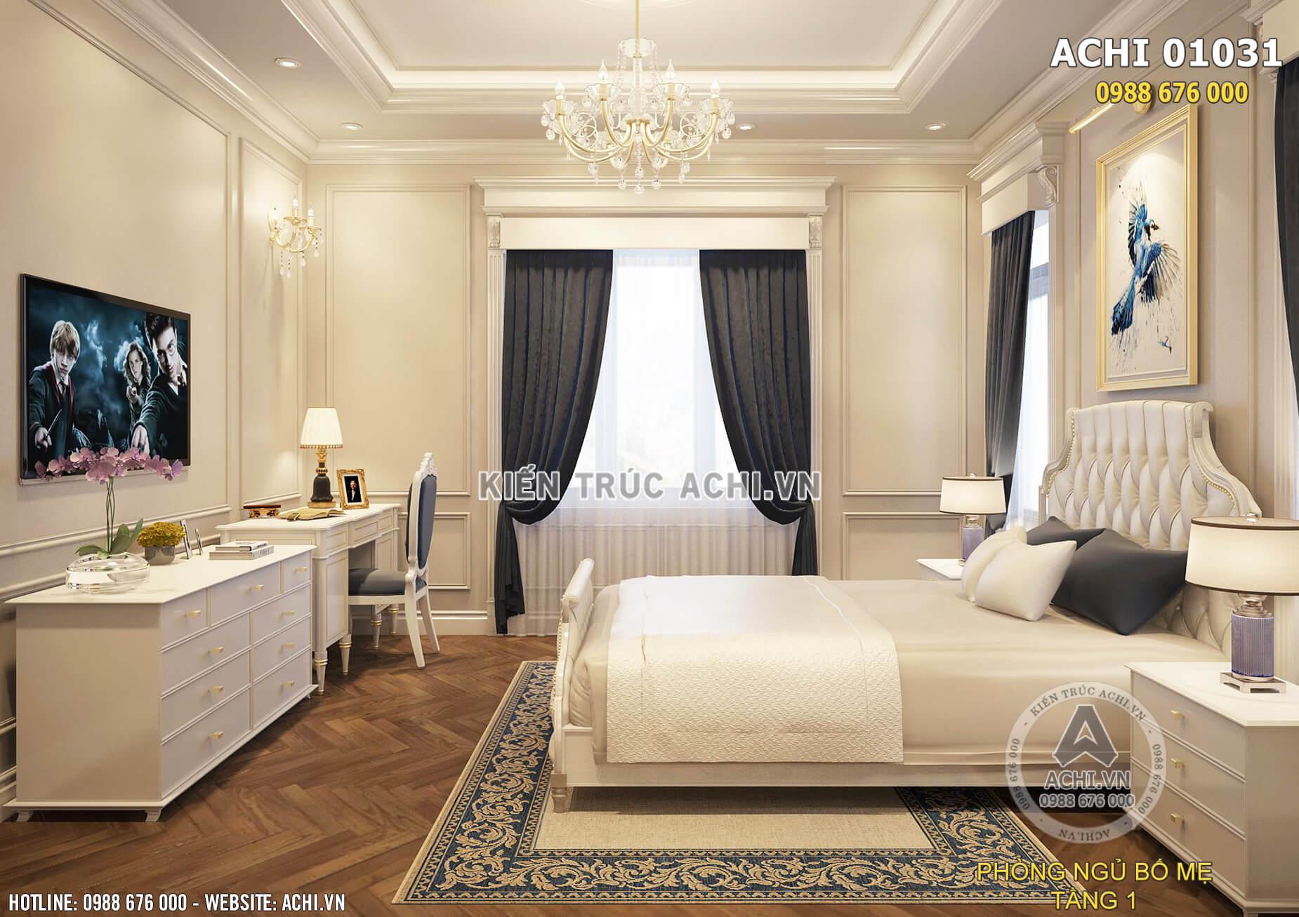 Một góc view của nội thất phòng ngủ Master