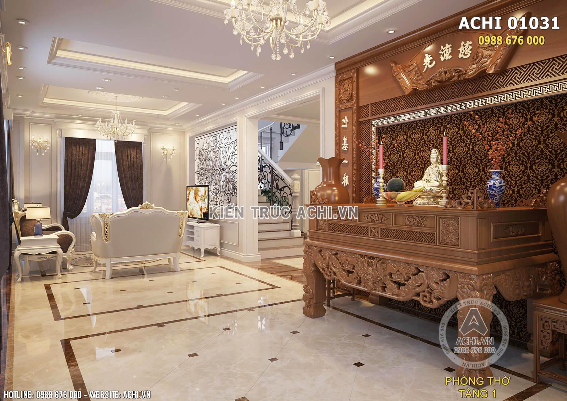 Mẫu thiết kế nội thất phòng thờ tân cổ điển đẹp nhẹ nhàng tại Hải Phòng