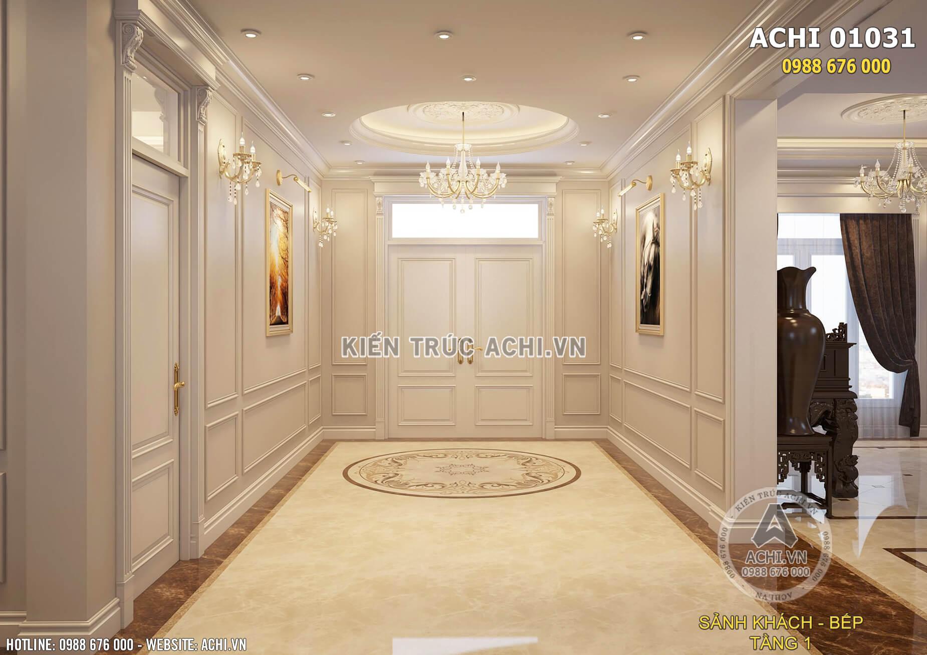 Hệ thống sảnh tại giữa phòng khách và phòng bếp của ngôi biệt thự
