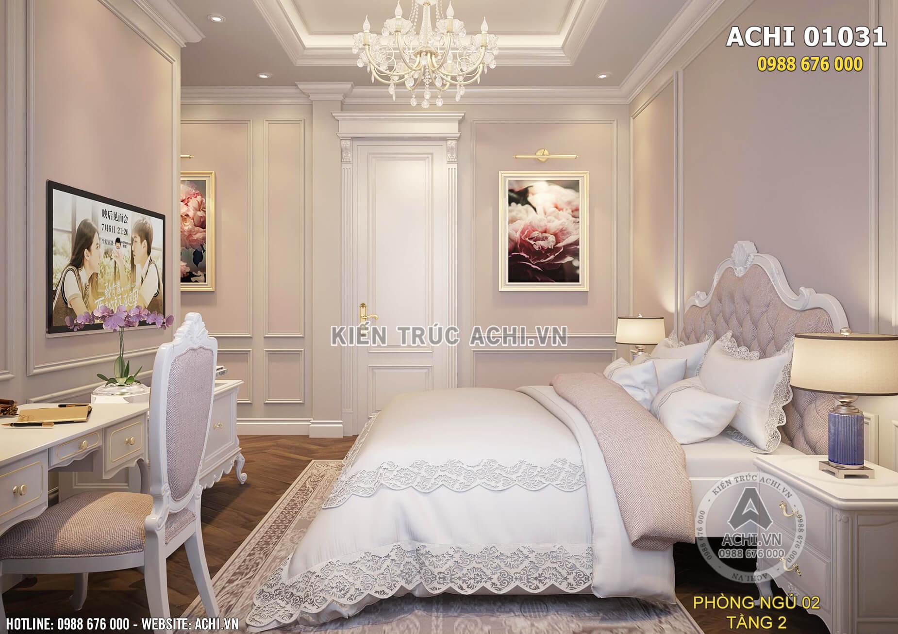 Căn phòng ngủ tân cổ điển với các họa tiết trang trí nhẹ nhàng, tinh tế