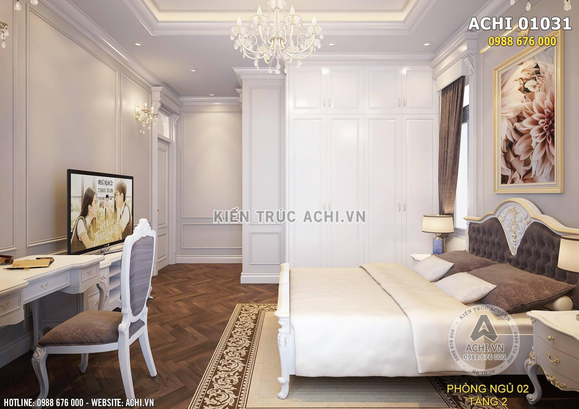 Các món đồ nội thất trong phòng ngủ được thiết kế tỉ mỉ, chi tiết
