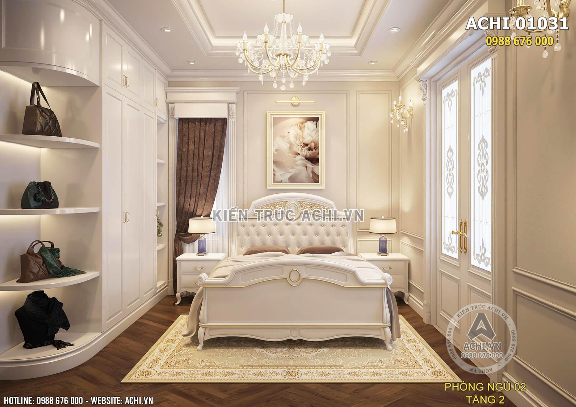 Căn phòng ngủ với hệ thống ánh sáng hài hòa mang đến cảm giác ấm áp