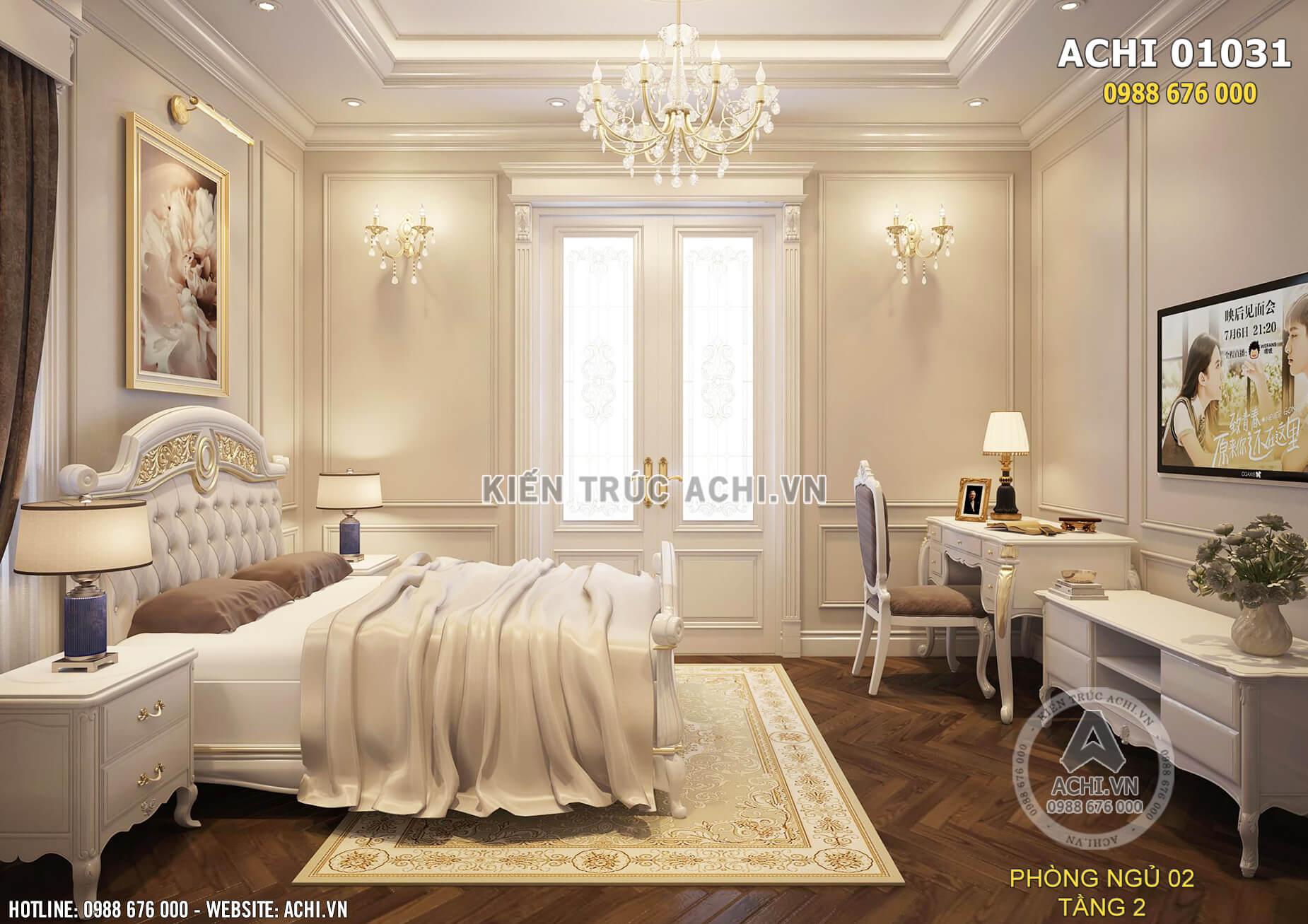 Màu sắc trang nhã nhẹ nhàng được sử dụng tại phòng ngủ ở tầng 2